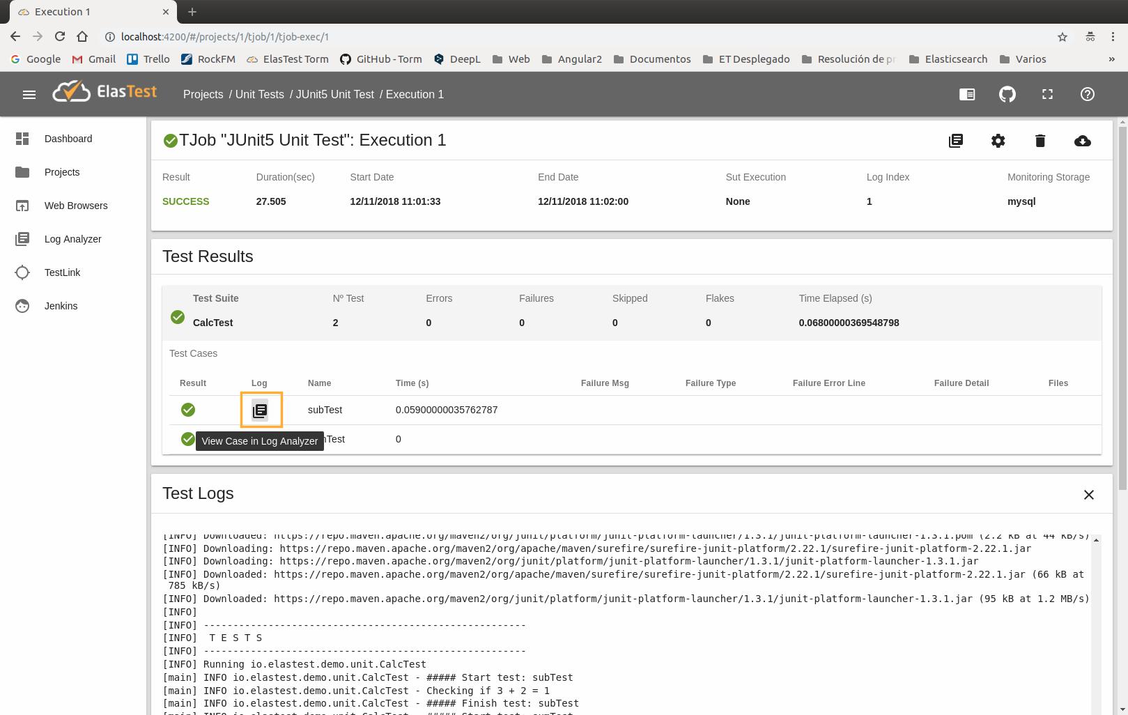 Elastest Documentation - Run unit tests