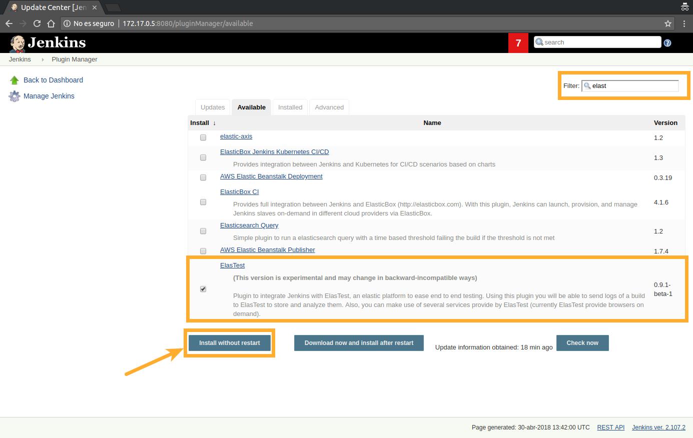 Elastest Documentation - Jenkins integration