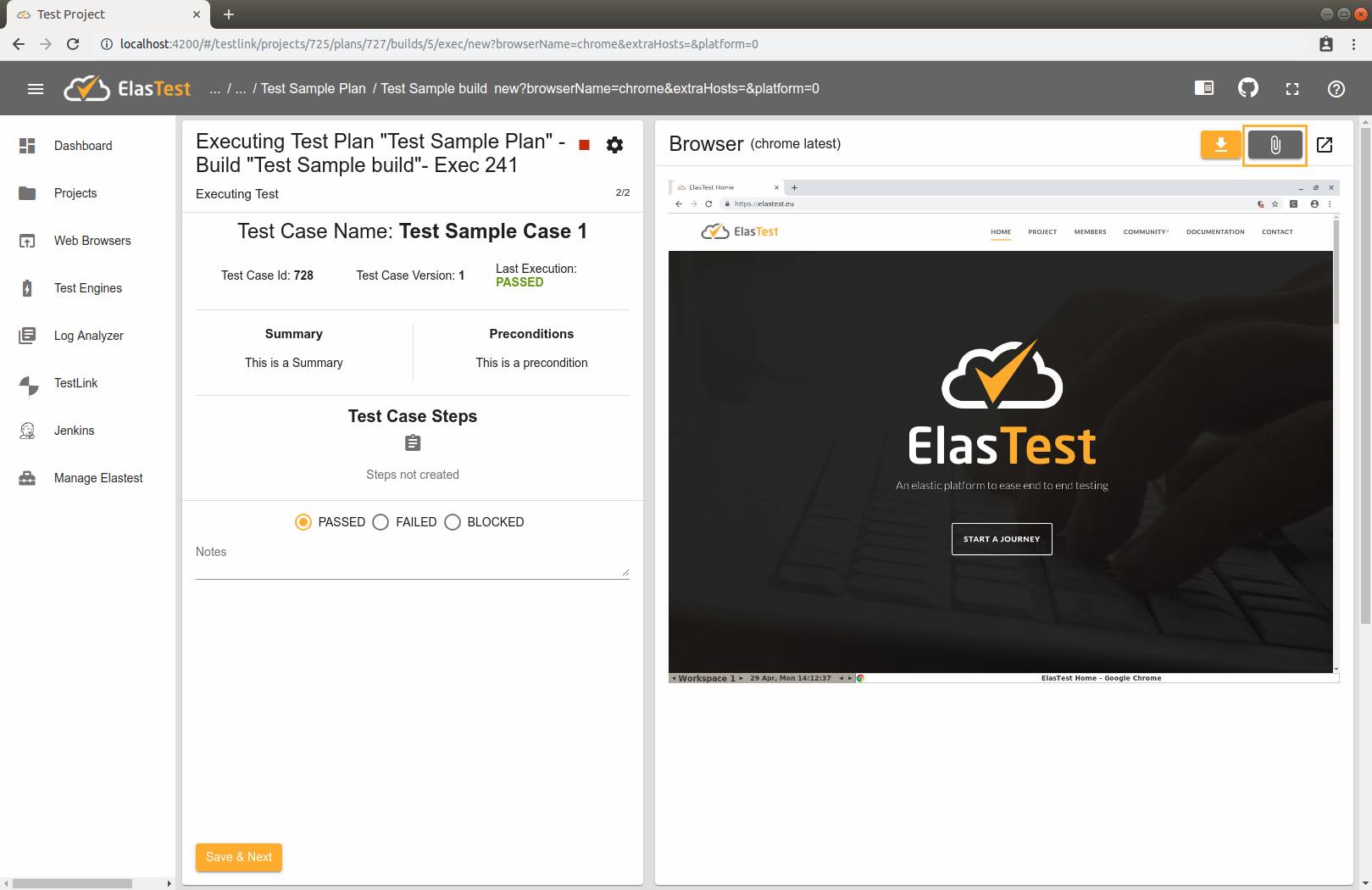 Elastest Documentation - TestLink with ElasTest