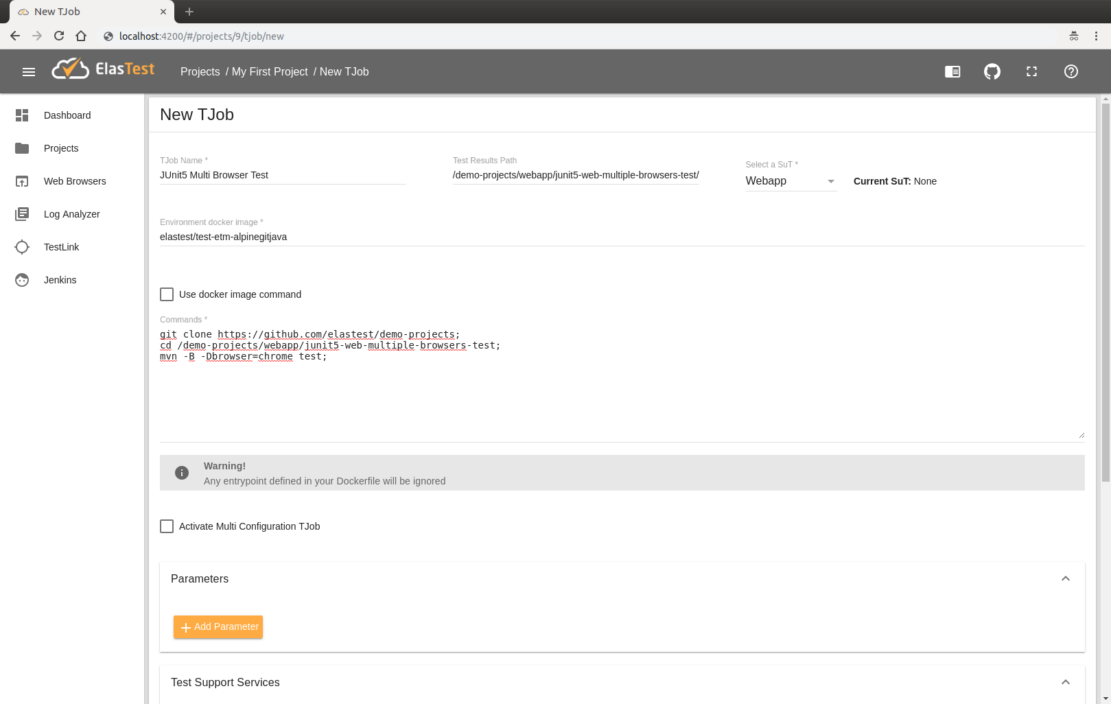 Elastest Documentation - Run en2end tests with Web Browsers