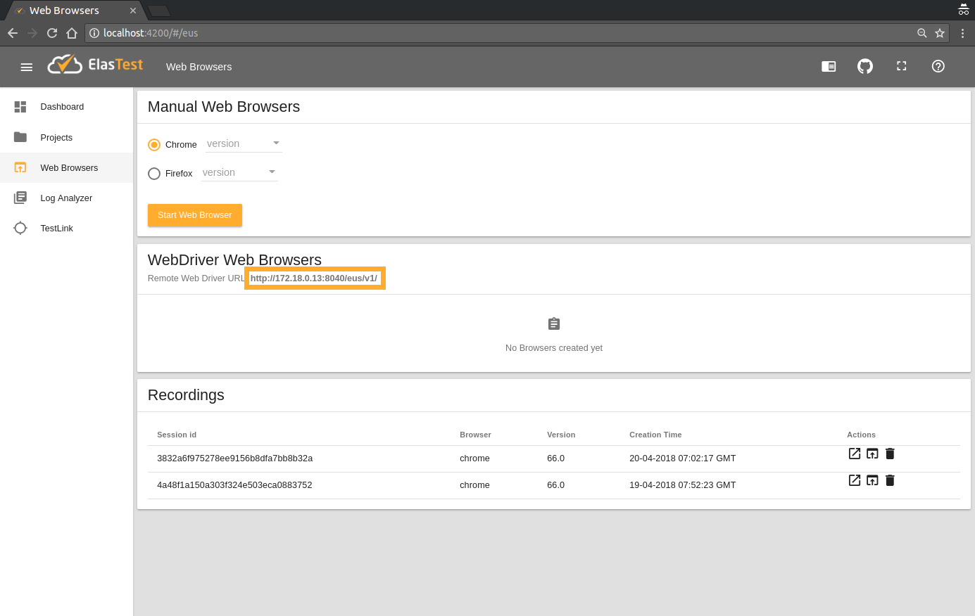 Elastest Documentation - Testing with Web Browsers from